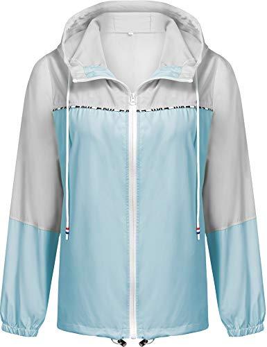 Besshopie Women's Raincoats Waterproof Packable Windbreaker Active Outdoor Hooded Lightweight Rain Jacket ()