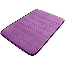 Hunputa 50×90cm Memory Cotton Coral Carpet Mats Non-slip Bath Mats Kitchen Bathroom Floor Rug (Purple)