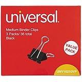 """Medium Binder Clips, Steel Wire, 5/8"""" Cap., 1-1/4"""" Wide, Black/Silver, 36/Pack (Pack of 3)"""