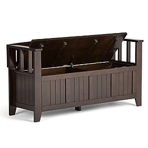 Simpli Home Acadian Solid Wood Entryway Bench, Rich Tobacco Brown