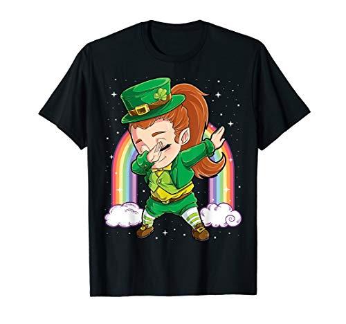 Dabbing Leprechaun Shirt Women Kids Girls St Patricks Day