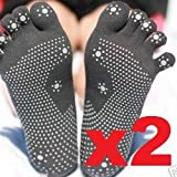 Silicone Dots Non-slip Grip Yoga Toe Socks - Charcoal, One Size (Pack of 2)