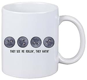 """Taza """"Me ven Rollin Ellos Hatin luna caras"""" de cerámica, Smiley, Emoji, decoración, culto, Taza de café Taza de té, iPhone, emoticonos."""
