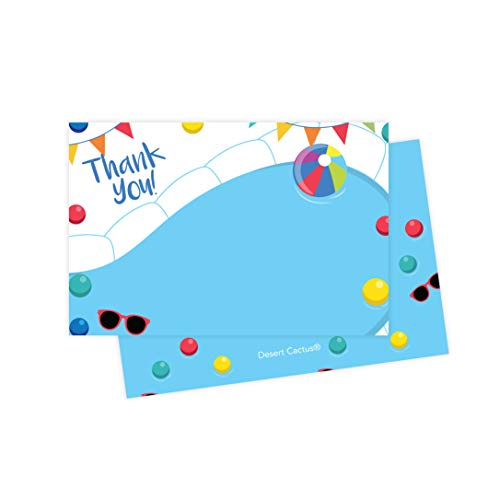 Pool Party Thank You Cards (25 Count) With Envelopes & Seal Stickers Bulk Birthday Party Bridal Blank Graduation Kids Children Boy Girl Baby Shower (25ct)