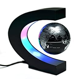 KOBWA Floating Globe with LED Lights C Shape Magnetic Levitation Floating Globe Rotating Magnetic Mysteriously Suspended in Air World Map Christmas Gift