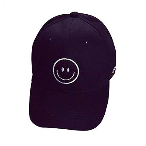Vanvler Smiley Face Embroidery Cotton Baseball Cap Boys Girls Snapback Hip Hop Flat Hat (Black) - Smiley Black Cap
