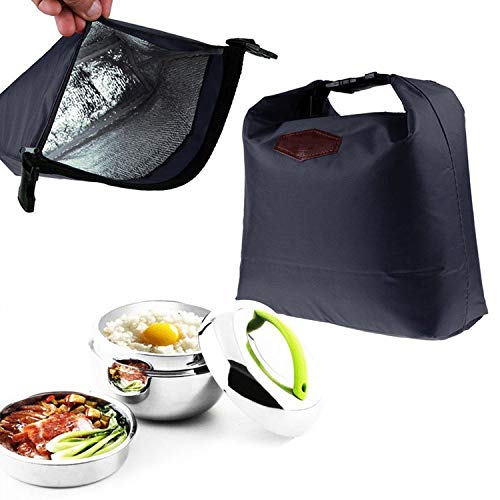 Waterproof Thermal Cooler Insulated Lunch Bags Portable Tote Storage Picnic Bags School Office Food Lunch Bags,Navy Blue