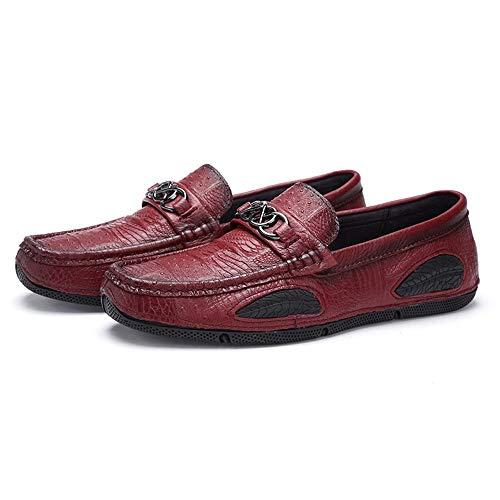 gommino de ocasionales tamaño del Rojo de planos 27 Red y Moccasin Zapatos Brown 0cm conducción cuero los de genuinos 0cm 24 negocio suave liviano Zapatos único los Zapatos Diseño Zapatos hombres wTqRnx8XCA