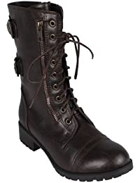 ALICE-03 Women Mid-Calf Boot Color: BROWN Size: 8.5