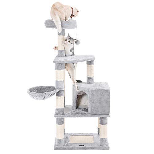 """SONGMICS 58"""" Multi-Level Cat Tree with Sisal-Covered Scratcher"""