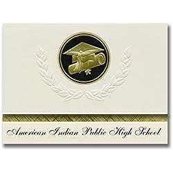 Signature Announcements American Indian Public High School (Oakland, CA) Graduation Announcements, Presidential Basic Pack 25 Cap & Diploma Seal. Black & Gold.