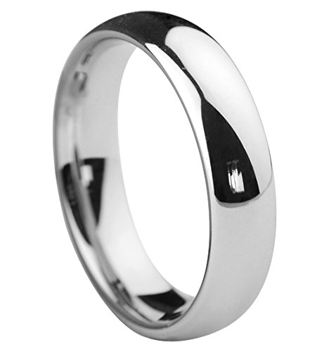 Queenwish 5mm White Tungsten Carbide High Polished Classic Wedding Ring Size 6.5 ()