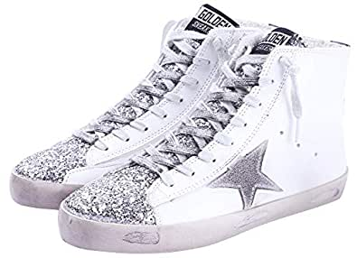 FENIKUSU Women's Flat Sneakers High Top Glitter Fashion Star Lace up Casual Shoes Wide Width (US 5.5, Silver)