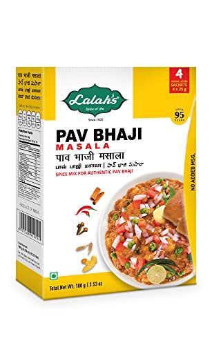 Lalah's Pav Bhaji Masala Powder, Spice Mix for Authentic Pav Bhaji, Gluten Free, No Trans Fat, No Preservatives or Colors Added, No MSG - (4 x 25g aroma locked sachets), 100 grams (3.5 oz)