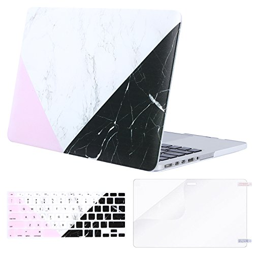 MOSISO Plastic Pattern Hard Case Only Compatible MacBook Pro (W/O USB-C) Retina 13 Inch (A1502/A1425)(W/O CD-ROM) Release 2015/2014/2013/end 2012 & Keyboard Cover & Screen Protector,White Black Marble