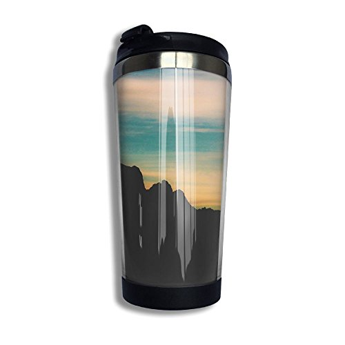 Coffee Cup Travel Mug Office Insulated Stainless Steel Tumbler Cruisers Rocks Mountains Sky Clouds Cup With Lid,Carry Hand - Castle Shops Rock At Outlets