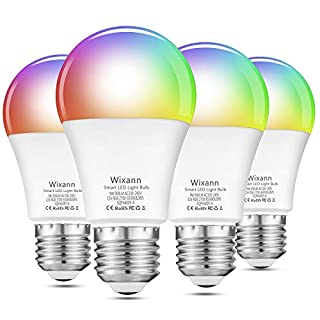 Alexa Smart WiFi Light Bulb, 9W RGBCW Color Changing Led Bulb Compatible with Alexa Echo Google Home and Siri, 2700K-6500K 900LM Dimmable A19 E26 80W Equivalent, No Hub Required - 4 Pack