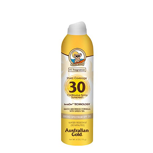 - Australian Gold Sheer Coverage Continuous Spray Sunscreen, Quick Absorbing Invisible Dry, Broad Spectrum, Water Resistant, SPF 30, 6 Ounce