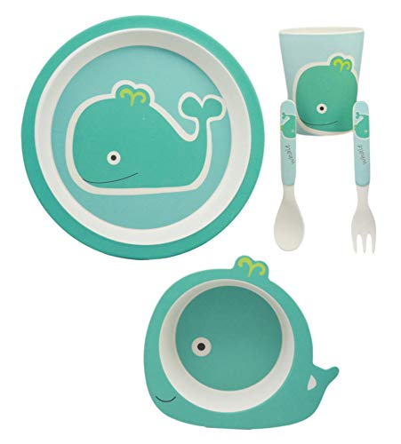 (Ebros Green Moby Dick Whale Whimsical 5 Piece Dinnerware Set For Kids Children Toddler Baby Made Of BPA Free Eco Friendly Organic Bamboo Fiber Fork Spoon Plate Bowl And Cup Ideal Baby Shower Gift)