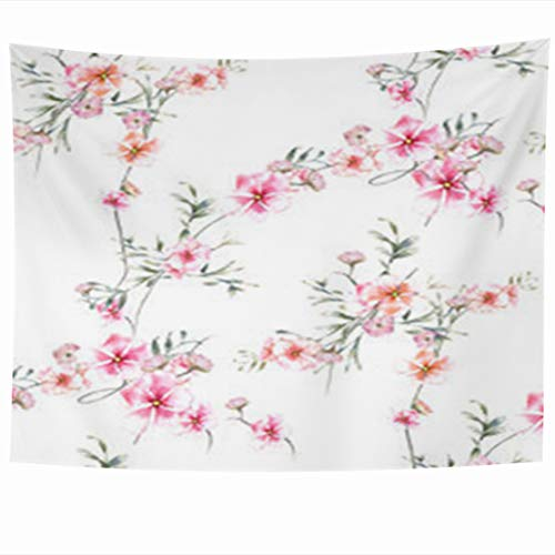 InnoDIY Tapestry Wall Hanging 60 x 50 Inches Red Watercolor Painting Leaf Flowers Pattern Nature Drawing Orchid White Green Rose Floral Decor Tapestries Art for Home Bedroom Living Room ()