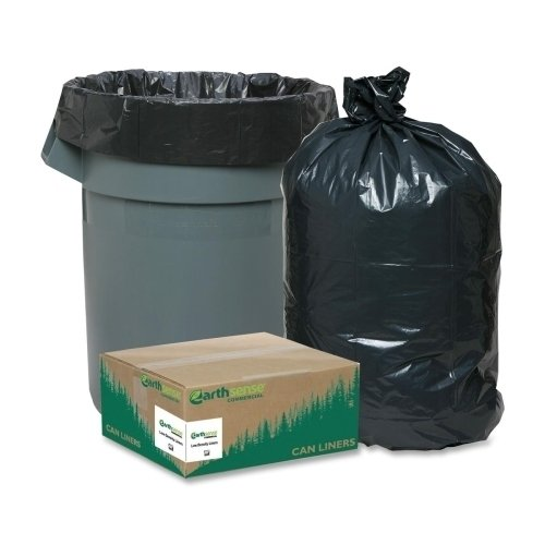 "Wholesale CASE of 5 - Webster Reclaim Heavy-Duty Recyled Can Liners-Rcycld Can Liner,Hvy-Dty,.65 Mil,7-10 Gal,24""X23"",500/CT,BK"