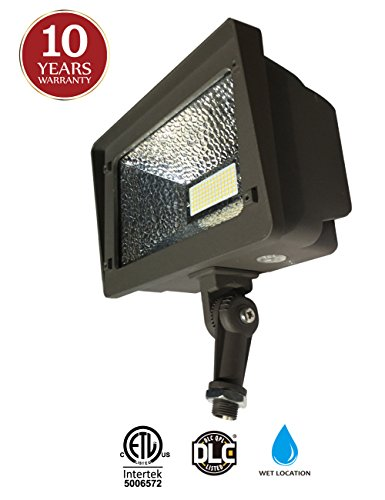 LED Flood Light, Dusk-to-Dawn Photocell, 180° Adjustable Knuckle, Waterproof Outdoor Area Lighting, 50W 5000K Daylight 5500lm 100-277Vac, ETL Qualified DLC Listed 10-Year Warranty by Kadision