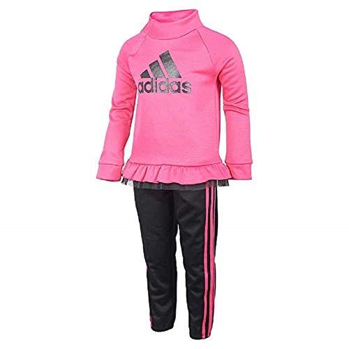 adidas Girls Tricot Jacket and Pant Set (Magenta/Black, 6X)