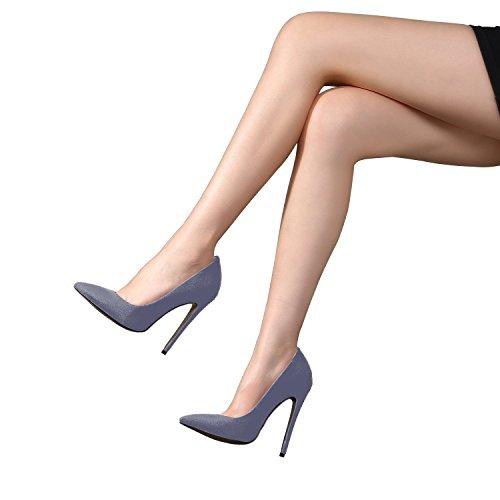 Pumps Plus Size grau Stiletto Büroarbeit Pumps Damen für SexyPrey Zehen Spitze Heels RHBgwqWn