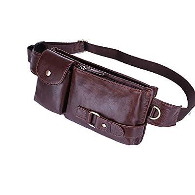ec73fdb0426169 Men s Genuine Leather Fanny Pack Belt Bag Retro Waist Backpack Phon Holder  Sling Bag well-
