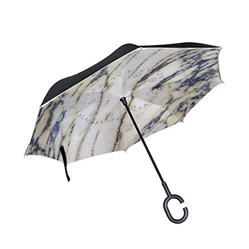 Ladninag Inverted Reverse Umbrella Marble Pattern Texture Windproof for Car Rain Outdoor