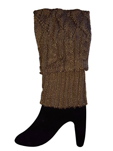 Sweater Knit Short Leg Warmers / Boot Socks Topper Cuffs (Beaded Thigh High Stockings)