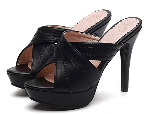 Heel Soirée Easemax Femme Mules High Peep Talon Aiguille Toe Noir Sexy 8Tq0RC