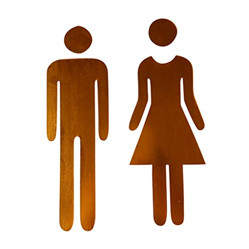 Ktyssp 3D Mirror Sticker Funny WC Toilet Door Entrance Sign Men Women DIY Wall (Gold)