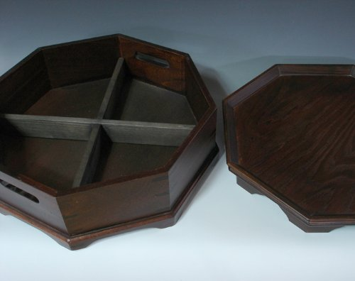 Octagonal Four Compartment Divided Natural Grain Wooden Tea Set Coffee Wine Serving Platter Tray Container Box Storage Holder by Antique Alive Tabletop (Image #3)