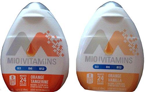 Liquid Water Enhancers Mio Vitamins Orange Tangerine & Orange Vanilla 1.62 Fl Oz (2)