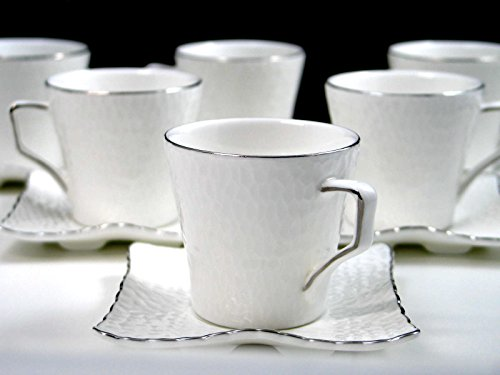 12-pc White Espresso Set, Crinkle Skin Pattern with Silver L