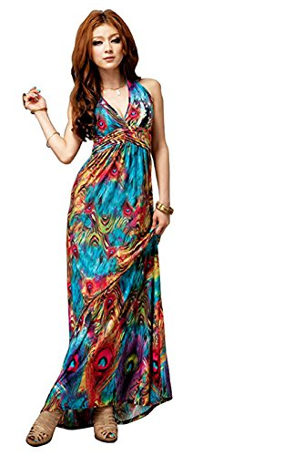 Leward Women Flaming Empire Waist Summer Boho Halter V-Neck Long Beach Dresses Blue