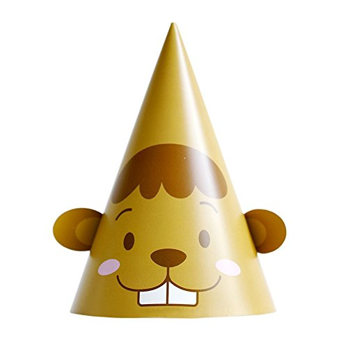 Remeehi Kid Cute Birthday Party Hat Chlid Crown Decoration Paper Cap Cartoon Pattern Festival Colorful Birthday Hat Beaver]()