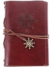 IMIKEYA Vintage Deri Günlüğü, PU Deri Bağlı Defter Seyahat Günlüğü Hediye (Kırmızı)