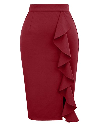 Women's Classic Slit Ruched Solid Pencil Skirt Size 2XL Wine Red (Back Ruched Skirt Pencil)