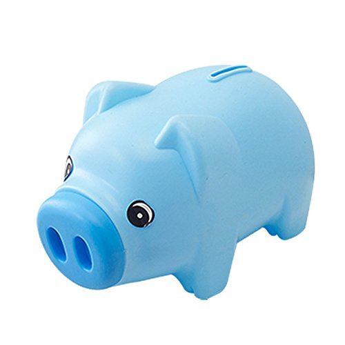 TOYMYTOY Plastic Piggy Bank Coin Saving Pot Cash Collectible Saving Box Pig Toys (Blue)
