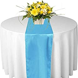 mds Pack of 10 Wedding 12 x 108 inch Satin Table Runner for Wedding Banquet Decoration- Turquoise