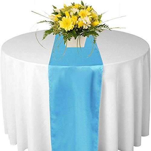 mds Pack of 10 Wedding 12 x 108 inch Satin Table Runner for Wedding Banquet Decoration- Turquoise]()