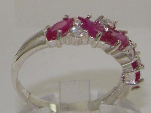 Haute Qualité Bague pour Femme en Argent fin 925/1000 sertie de Rubis et Diamant - Taille - Tailles 47 à 68 disponibles