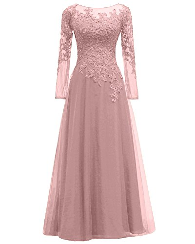6721bb99420 Pretygirl Women s Appliques Tulle Mother Of The Bride Dress Long Sleeves Evening  Formal Gown (US 16
