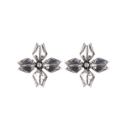primerry (Fashion Rhinestone Flower) Small and Exquisite Ear Hook Pearl Earrings (Silver)