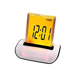 Denshine 7 LED Color Changing Digital LCD Thermometer Calendar Alarm Clock