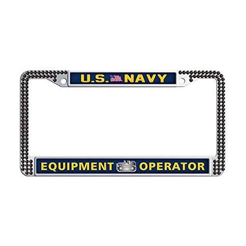 US Navy Equipment Operator License Plate Frame,Black Rhinestones Auto License Tag Holder
