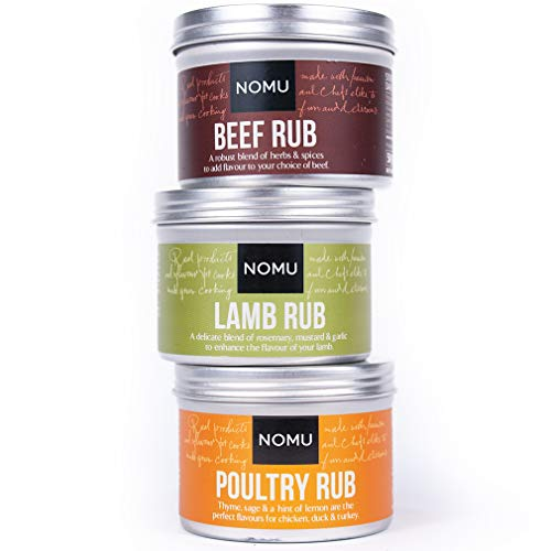 NOMU Rub Meat Trio Set - Beef, Poultry & Lamb Seasonings (3-pack) - Premium Blends of Herbs & Spices - No MSG or Preservatives