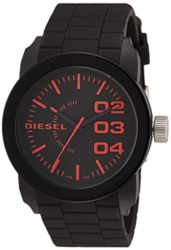 Diesel Men's 'Double Down' Quartz Stainless Steel and Silicone Casual Watch, Color:Black (Model: DZ1777)